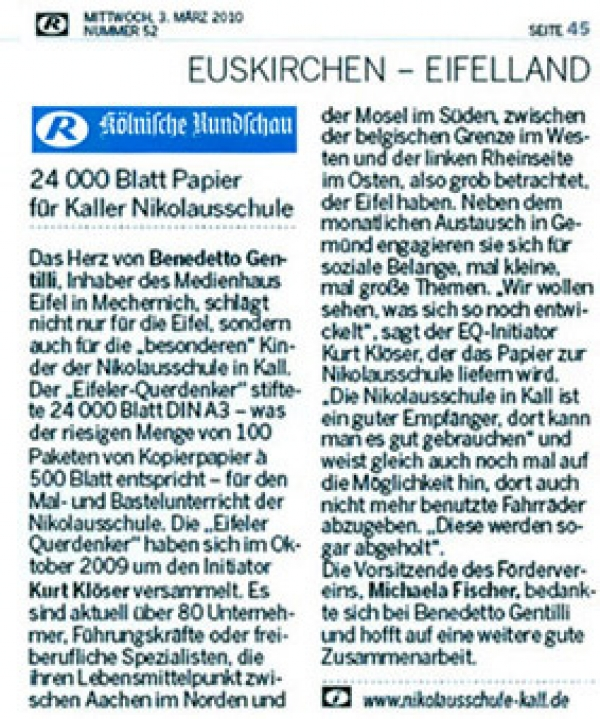 24 000 Blatt Papier für Kaller Nikolausschule