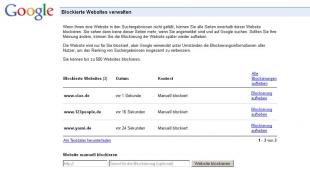 Google: Suchergebnisse blockieren